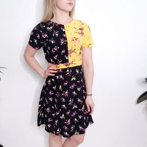 ASOS NWT Floral Black Aline Cut Out Mini Dress 257